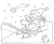 bonhomme de neige glisse pendant les vacances de noel dessin à colorier