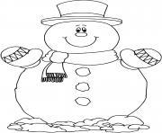 bonhomme de neige classique dessin à colorier