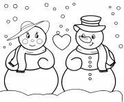 amour entre deux bonhommes de neige sous la neige dessin à colorier