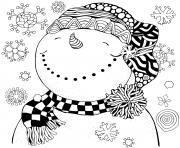 souriant et apaiser sous les flocons de neiges dessin à colorier