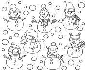 plusieurs bonhomme de neige differents dessin à colorier