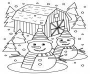 bonhomme de neige et madame neige entoure de sapins dessin à colorier