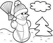 bonhomme de neige souriant en hiver avec un jolie sapin dessin à colorier
