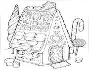 maison vintage en forme de pain epice dessin à colorier