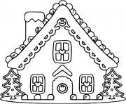 maison pain depices avec des sapins en patisserie dessin à colorier