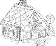 maison pain depices dans un village de noel dessin à colorier