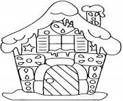 maison pain epice noel devant dessin à colorier