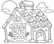 paysage pain epice maison biscuit patisserie dessin à colorier