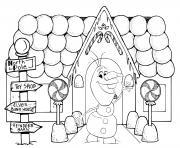 olaf de la reine des neiges dans une maison de pain epices dessin à colorier