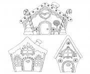 trois maisons de pain depices en patisseries moderne dessin à colorier