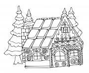 maison biscuit pain epice avec des sapins dessin à colorier