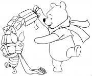 Pooh Piglet with presents dessin à colorier