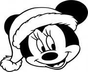Minnie face with christmas hat dessin à colorier