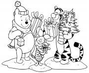 Pooh Tigger Piglet with presents dessin à colorier