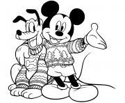 Mickey Pluto in sweaters dessin à colorier