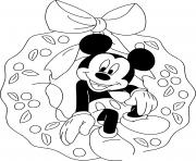 Mickey sitting in wreath dessin à colorier