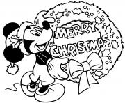 Mickey Mouses wreath merry christmas dessin à colorier