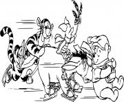 Winnie the Pooh and friends on ice dessin à colorier
