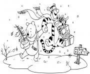Pooh Tigger off to the north pole dessin à colorier