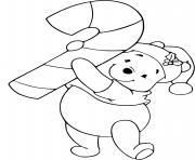 Winnie candy cane dessin à colorier