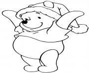 Winnie the Pooh as Santa Claus dessin à colorier