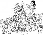 Snow White seven dwarfs tree dessin à colorier