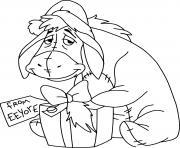 Eeyore Christmas present dessin à colorier