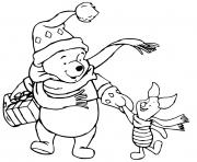 Pooh Piglet hand in hand dessin à colorier