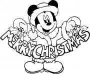 Mickey Mouses sign Merry Christmas dessin à colorier