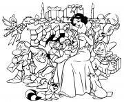 Snow White dwarfs gift exchange dessin à colorier