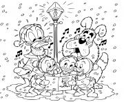 Donald nephews singing carols dessin à colorier