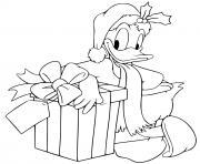 Donald leaning against present dessin à colorier