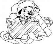 Puppy wearing Santa hat in gift box dessin à colorier