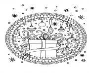 cadeau flocons de neige et decorations de noel mandala dessin à colorier