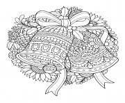 cloches de noel guirlande et couronne dessin à colorier