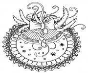 cloches et rubans de noel mandala dessin à colorier