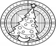 mandala sapin de noel avec des etoiles et boules decorations dessin à colorier