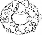 couronne gurilande de noel facile pour maternelle dessin à colorier