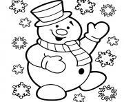 bonhomme de neige maternelle avec flocons de neige dessin à colorier