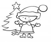 lutin et sapin de noel maternelle enfant dessin à colorier