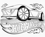hot wheels voiture de course dessin à colorier