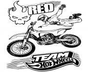 Coloriage Team Hot Wheels Moto Fly jump