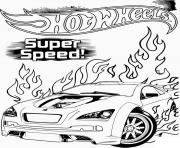 hot wheels super vitesse dessin à colorier