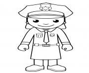 une policiere americaine porte un jupe dessin à colorier