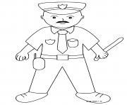 policier avec un matraque dans la main dessin à colorier
