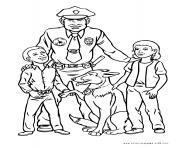 chien policier et officier avec deux enfants dessin à colorier