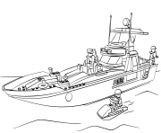 lego police bateau navigatio maritime dessin à colorier