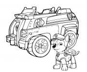 police pat patrouille avec son vehicule dessin à colorier