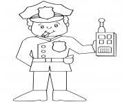 policier avec radio portative dans la main dessin à colorier