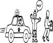 poursuite d un voleur en voiture d epolice dessin à colorier